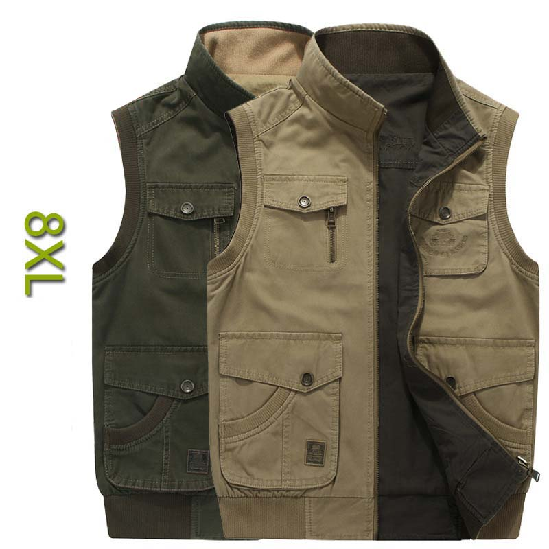 Double SIDE Vest Cotton PLUS SIZE M-8XL Men Casual Vest With Many Pocket Sleeveless Jacket Mandarin Collar Military Waistcoat