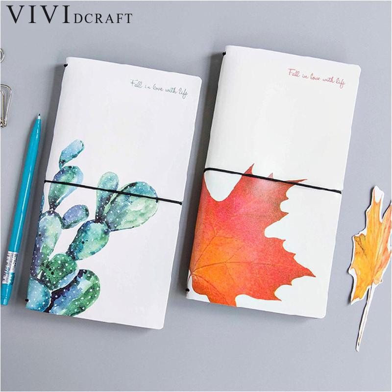 Vividcraft Creative Oil Leaves PU Leather Cover Planner Notebook Diary Book Binding Note Notepad Travelers Notebooks silicone jigsaw pattern cover creative notebook red white green purple
