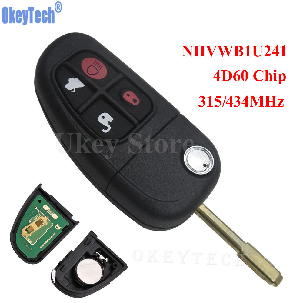 OkeyTech Flip Remote Key Keyless Entry Fob 4 Button NHVWB1U241 315 MHz 434MHz 4D60 Chip For Select Jaguar Refit Car Key Remtekey 2003 03 ford taurus pink keyless entry remote 4 button