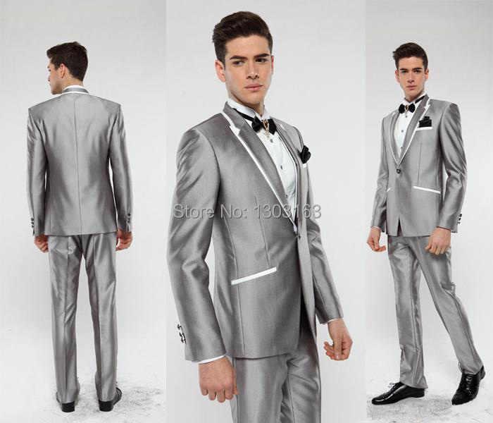 2016年ホテ販売カスタムメイド新郎タキシード20%オフ縁飾りプロセス銃襟ワンボタンファッションシルバーマンの結婚式スーツ