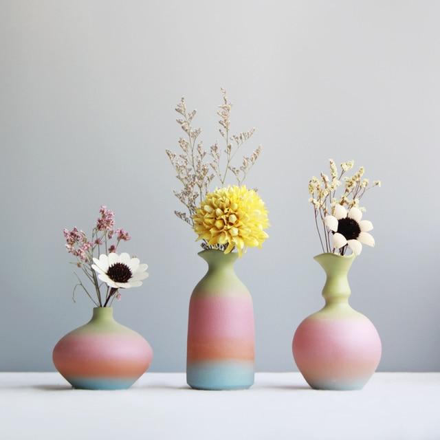 Modern Rainbow Prints Vase Colorful Ceramic Flower Vase 6 Design Desktop Mini Vase Home Decorative Centerpiece 3