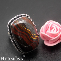 HERMOSA Jewelry Simple Fashion Hematite 925 Sterling Silver Exquisite Retro Ring Size 9 HF789