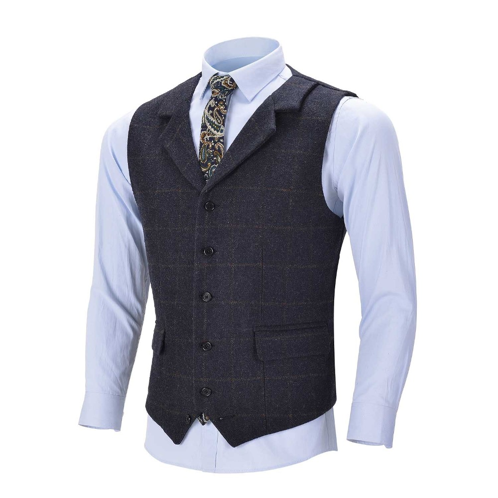2020 New Navy Blue Men's Plaid Vest Wool Tweed Suit Vest Formal Notch Lapel Waistcoat Groomsmen Customizable For Wedding