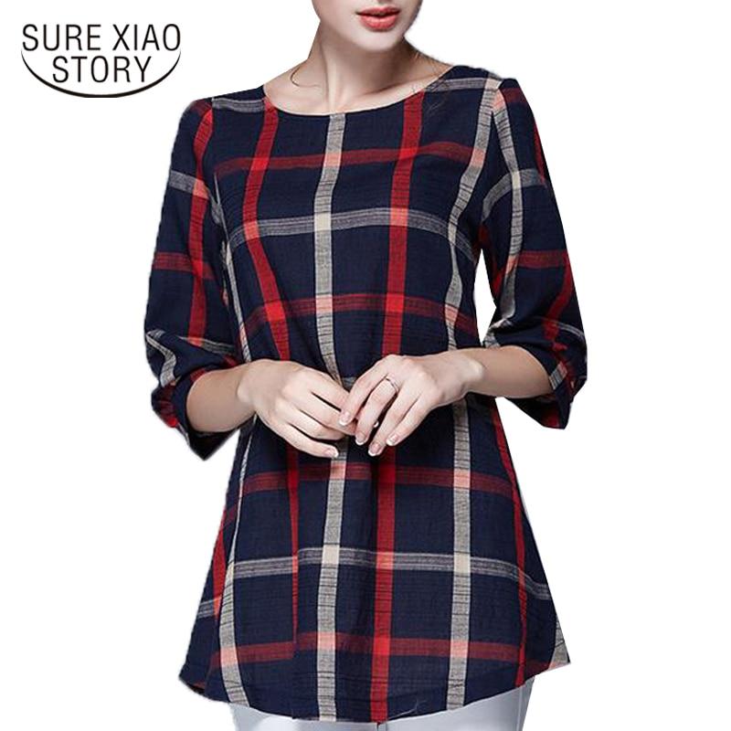 2018 spring autumn New hot plus size   blouses   feminina womens plaid   blouse     shirts   women clothing 137A 20