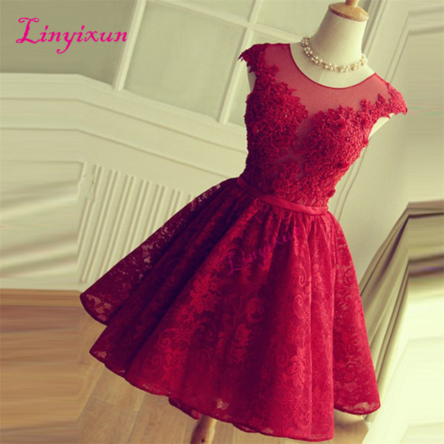 Linyixun Red Lace Short Prom Dresses Cap Sleeve Knee Length