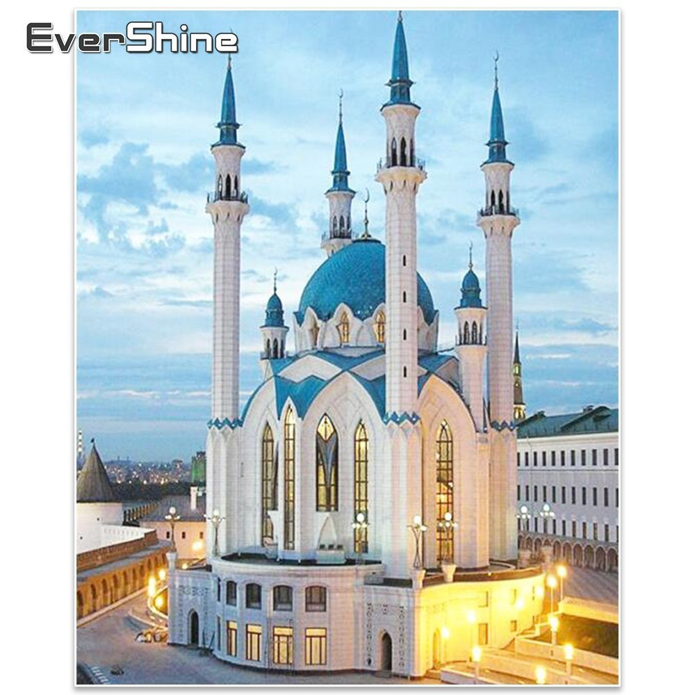 EverShine, Mosque Diamond Broderi Sale Bild av Rhinestones Wall Decor 5D Diamond Mosaic Scenic Needlework, Diamantmålning