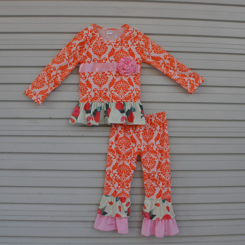 94449e0514a3 fashion fall winter children clothing sets orange floral print tops ruffle  pants kids boutique sets toddler girls outfits F064