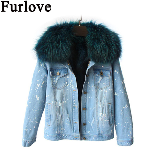 Furlove 2016 New Women Winter Jacket Coats Thick Parkas Plus Size Real Raccoon Fur Collar Hooded Outwear 5 Days Delivery time