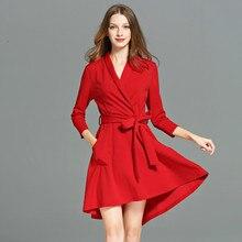 2017 осень-зима Для женщин глубокий v-образный вырез горловины платье пикантные Клубные полиэстер платье плюс Размеры красный качели трикотажные Платья для женщин