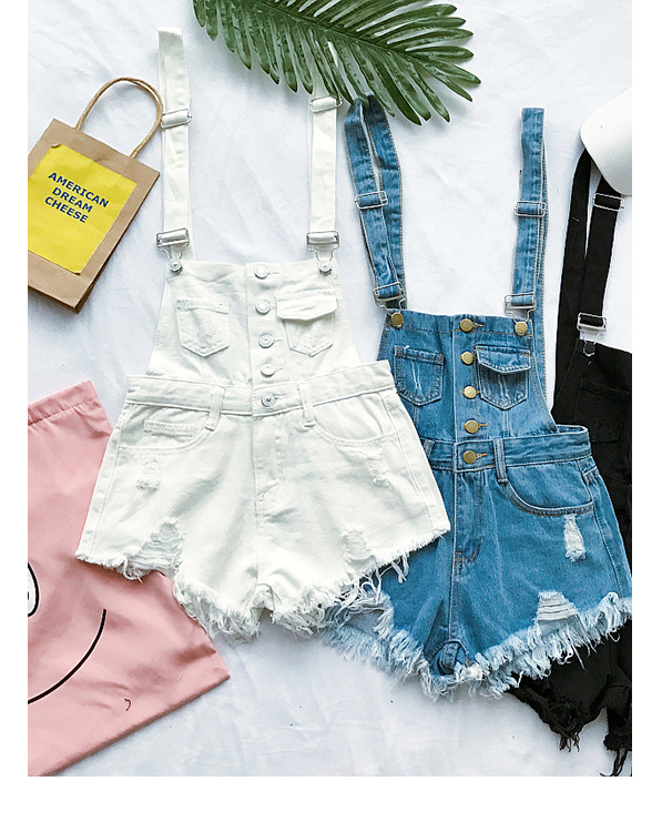 2017 New South Korea loose cowboy straps pants summer students high waist holes burr pants pants shorts tide (1)