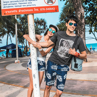 Men Women Kids Beach Wear Surf Shorts Boardshorts Water Sport Bermuda Leaves Printed Swim Trunks Quick Dry Couple Family Suit
