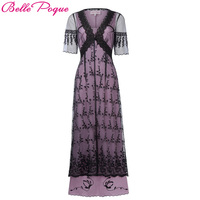 Belle Poque Women Retro Vintage Victorian Gothic Dress 2018 Summer Half Sleeve Lace Renaissance Dress Medieval Long Maxi Dresses