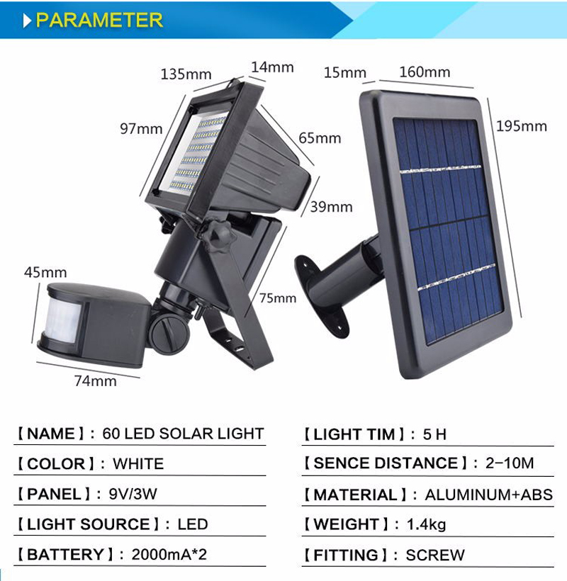 New Garden Solar Light with Motion Sensor Lamp 60Leds Solar Panel Led Lamp Waterproof Outdoor Solar Floodlights Spotlights Luces (24)