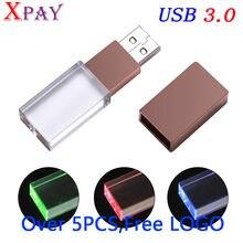 116d80f7cd XPAY logo custom made Crystal flash Light memory stick USB 3.0 4GB 8GB 16GB  32GB 64GB Flash Memory Stick Metal Pen Drive Gif