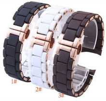 new Rubber wrap stainless steel watchband Rose gold in Black silicone rubber for brand male 23mm