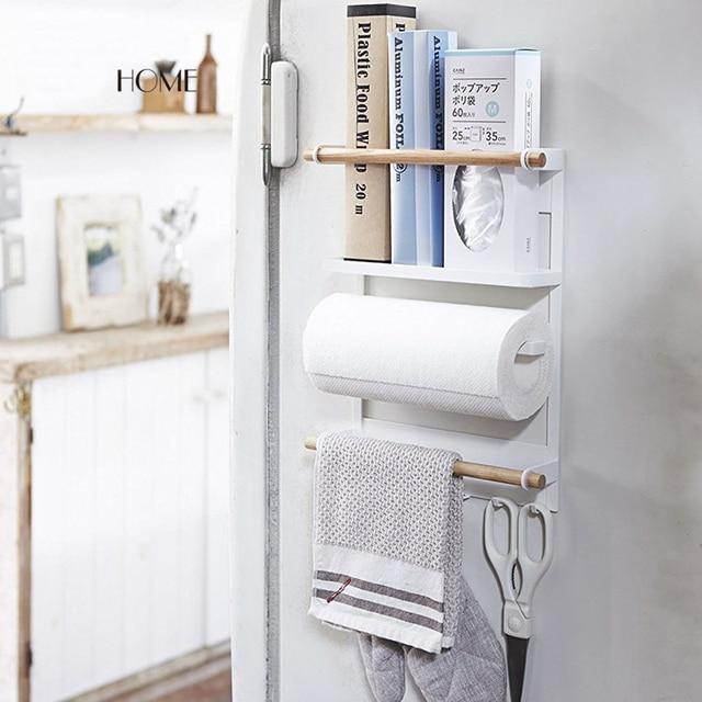 Us 49 99 Aliexpress Nordic Wood Iron Refrigerator Storage Holder Flavoring Magnetic Kitchen Organization Rack Bathroom Shelves Rail Hanger