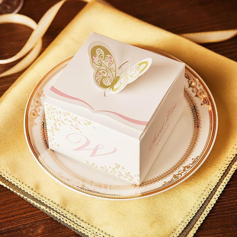 P lot 50pcs / lot 2017 nový luxusní čtverečních motýlů partyfly boxy ors party dárkové krabice supplies paper dárkové krabice dárkové krabice  t