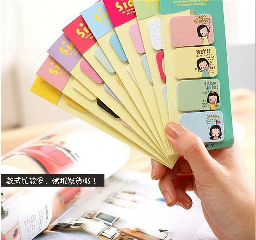 8 pieces mixed color cute girl Mini post creative N times message notes stickers self-adhesive stickers memo pads 5.5*14cm