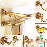 AUSWIND European vintage soild brass bathroom hardware set brush carving Classical wall mount bathroom accessories