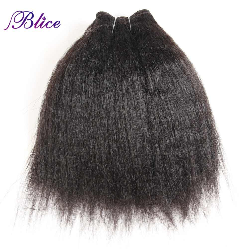 Blice Synthetic Kinky Straight Hair Weaving 10-24inch Super Hair Extensions Pure Color Hair Bundles One Piece Deal For Women