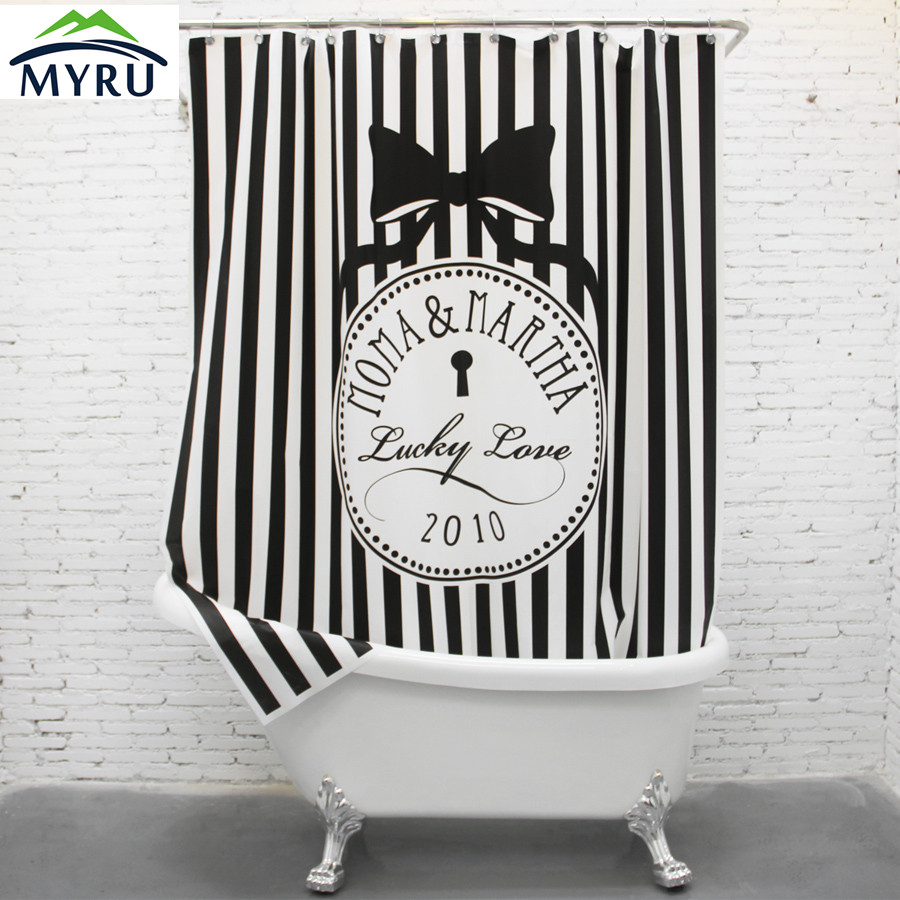 EVA waterproof black and white stripes thick shower curtain bathroom ...