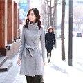 Новый 2016 моды пальто шерстяная ткань пальто однобортный ткань пальто k340