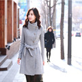 The new 2016 fashion coat woolen cloth coat single-breasted cloth coat    k340