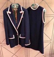 Удивительный ТОП оригинальный качественная одежда куртка элегантный пиджак и платье traje mujer комплект из 2 предметов дамы костюм платье уник