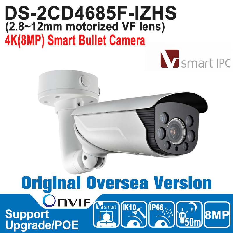 HIK NEW DS-2CD4685F-IZHS  IP Camera 8MP POE Outdoor 4K Smart Bullet IP Camera H.264+/H.264/MJPEG Built-in Micro SD/SDHC hik hot ds 2cd6362f iv hik ip camera 6mp poe indoor 6mp network fisheye camera h 264 h 264 mjpeg support microsd sdhc