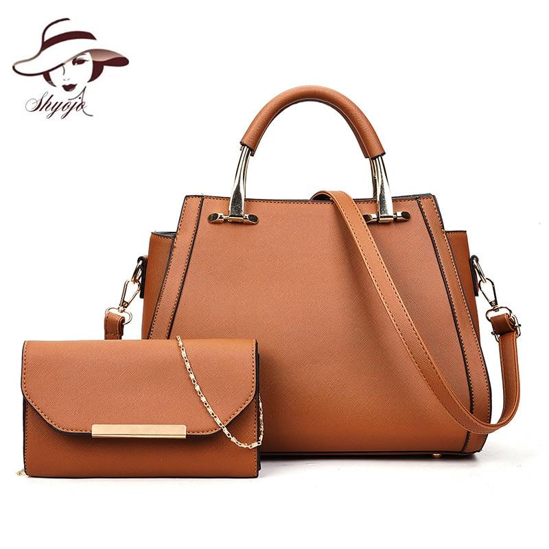 European American Style New 2PC Bags/Set Women Messenger Tote Bag Famous Brand Designer Female Shoulder Bag Handbag+Purse Clutch цена