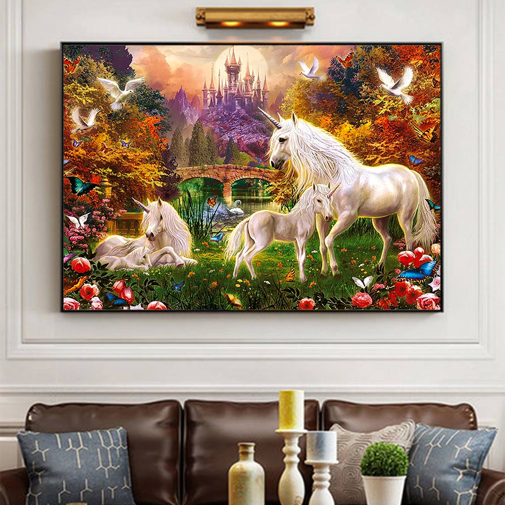 animal Unicorn Diamond Painting Full Round cartoon scenic New DIY Sticking Drill Cross Embroidery 5D simple Home Decoration in Diamond Painting Cross Stitch from Home Garden