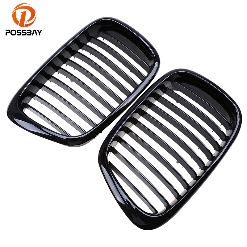 POSSBAY Front Gloss Black Paint Kidney Grille Grills for BMW 5 Series E39 530i/535i/540i/540iP/M5 Sedan 1995 2003 Bumper Grill