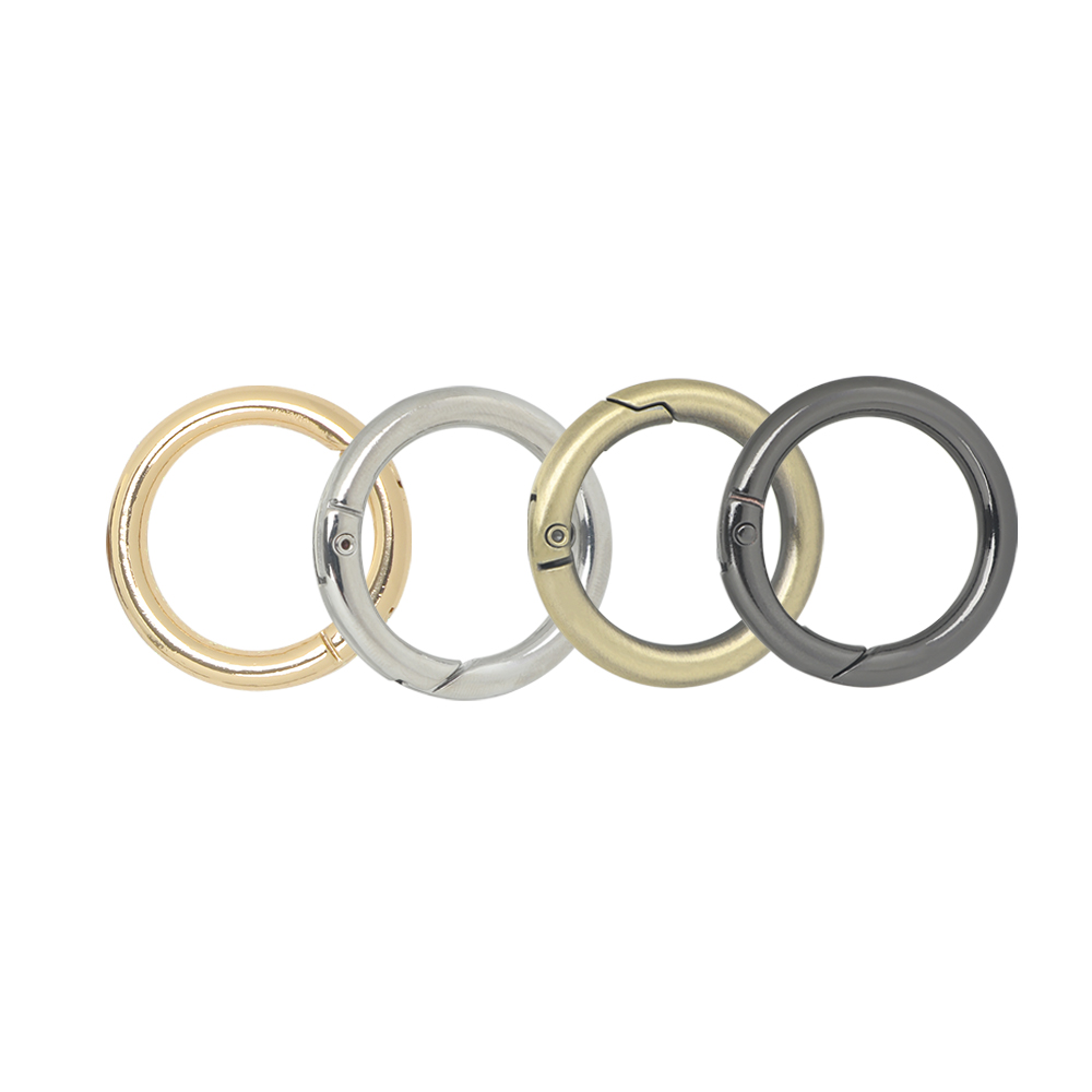 4Pcs Metal Spring Gate O Ring Openable Keyring Bag Belt Strap Buckle Dog Chain Snap Clasp Trigger Luggage Leathercraft Parts