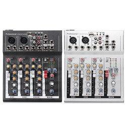 Черный, белый цвет 4-канальный Профессиональный Live смешивания Студия Аудио Звук консоли 48V USB микшерный пульт сети якорь звуковая карта