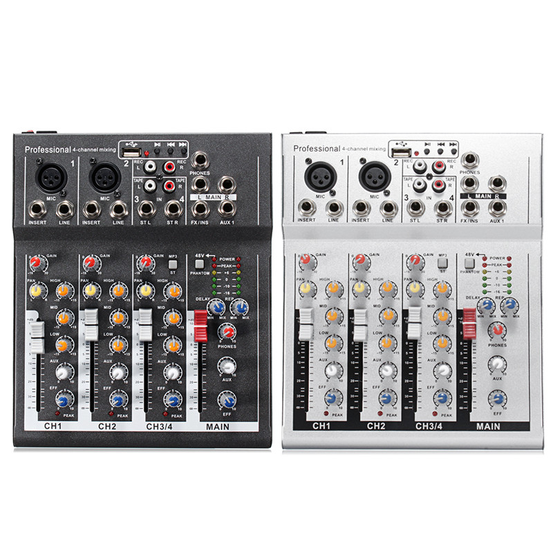 Black White 4 Channel Professional Live Mixing Studio Audio Sound Console 48V USB Mixer Console Network Anchor Sound Card professional 4 channel live mixing studio audio sound console network anchor portable mixing device vocal effect processor