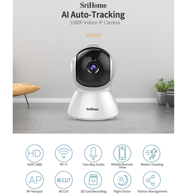 Sricam SH025 AI Body Auto-tracking IP Camera Mini 1080P Wifi CCTV Camera 2.0MP H.265 Smart Home Indoor Remote View Baby Monitor