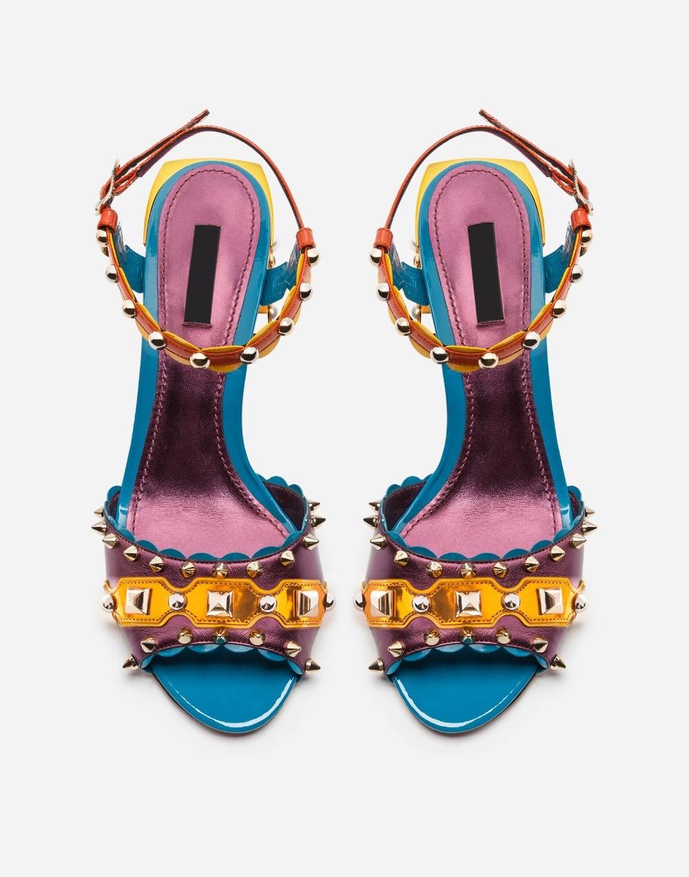 Dames Sandale Coloré Nouveau Femmes Épais Ouvert Hauts Mode Chunky Mariage De D'été Talon Talons Bout Romaine À Sandales HgvIwgq