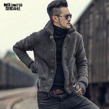 Kış kürklü ceket erkekler sıcak peluş yaka ince rahat katı triko Erkek kürk yastıklı yeni tasarım yün örme hırka F7135