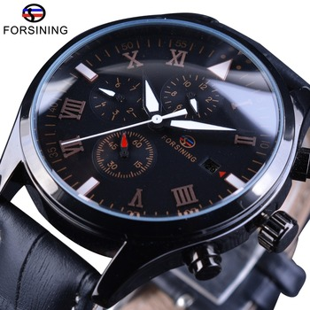 Forsining 2017 Black Genuine Leather Military Design Calendar Display Pilot Series Clock Mens Automatic Watches Top Brand Luxury