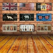 Metal Painting Sign Tin Signs Native Fox Vintage Tintin License Plate Plaque Poster Bar Wall Decor Home Decoration 30*15CM C7