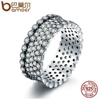 BAMOER 2018 New 100 925 Sterling Silver Lavish Sparkling Ring Clear CZ Finger Ring For Women