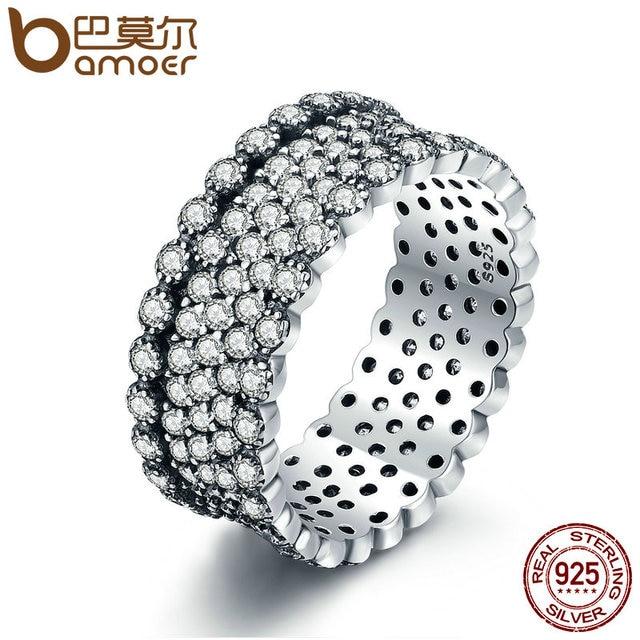 BAMOER 2018 New 100% 925 Sterling Silver Lavish Sparkling Ring, Clear CZ Finger