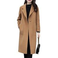 Beige Woolen coat Women Korean 2019 Spring Autumn Jacket Coats Loose Long Woolen coats Women's Cardigan Casual Overcome XS F234
