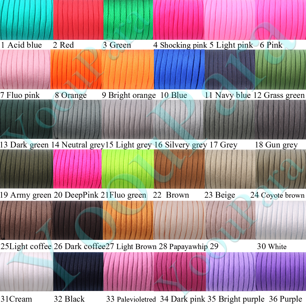 1000 Feet 250 Colors Paracord 550 Rope Type III 7 Stand Paracord Parachute Cord Rope For