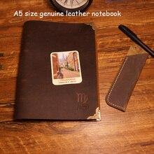 Новый A5 размер натуральная кожа путешественники journal notebook винтаж наполнителя крафт-бумаги a5 материал эсколар школьные принадлежности