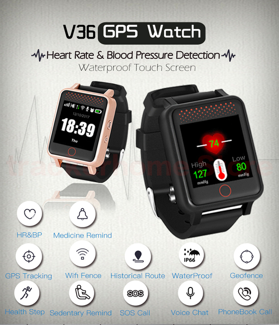Newest Kids Student Adult Mini Multi-function Phone Watch GPS Watch Tracker RF-V36 SOS &Two Way talking,Tracking Via Website/APP