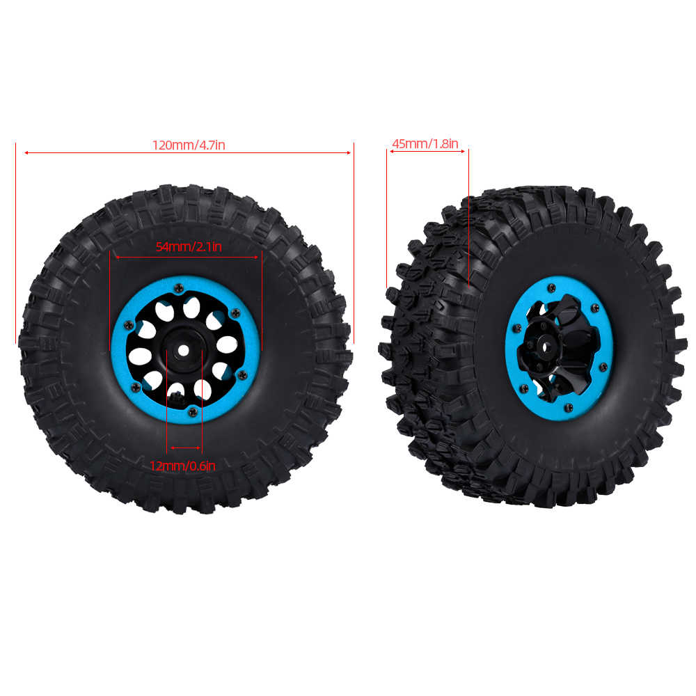 GoolRC 4pcs 120mm 1.9 Inch Rim Rubber Inflatable Tyre Tire Wheel for RC Car Traxxas HSP Redcat Tamiya Axial SCX10 D90 HPI RC Rock Crawler