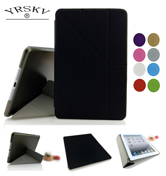 Case for iPad mini 1 mini 2 mini 3 YRSKV Multi-fold PU Leather Slim Magnetic Front Smart Cover Skin + Hard PC Back Tablet Case