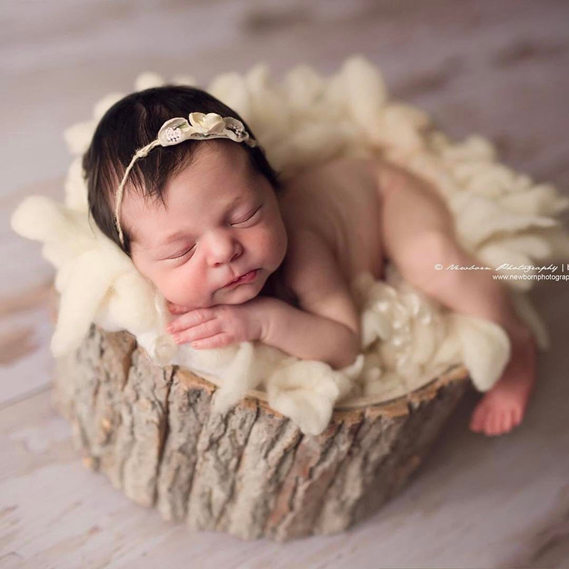 Dvotinst Baby Photography Props Wooden Tub Frame Treetop Solid Wood Fotografia Accessory Infant Toddler Studio Shooting Props