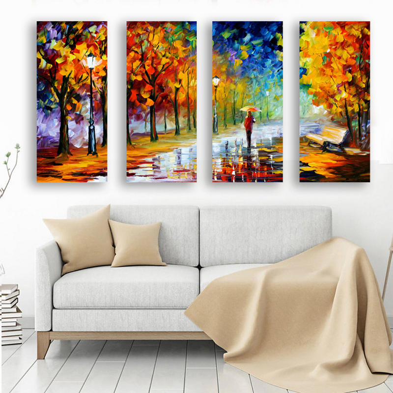 4pcs Frameless Oil Painting Home Decor Wall Arts